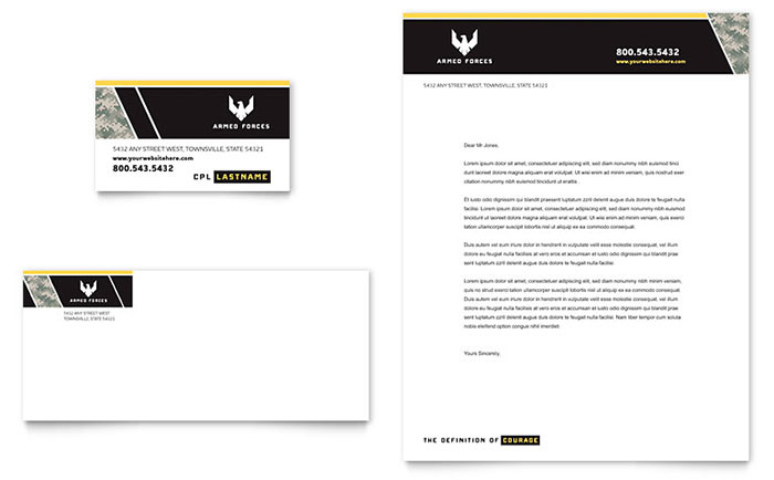 Military Business Card & Letterhead Template - Word & Publisher