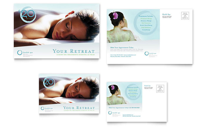 Day Spa & Resort Postcard Template - Word & Publisher