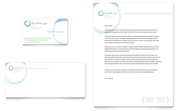 Day Spa & Resort Business Card & Letterhead Template - Word & Publisher