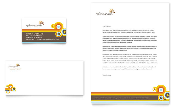 Tanning Salon Business Card & Letterhead Template - Word & Publisher