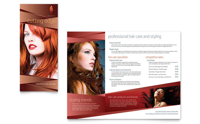 Hair Stylist Amp Salon Brochure Template Word Amp Publisher