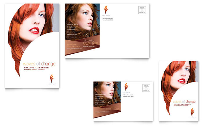 Hair Stylist & Salon Postcard Template - Word & Publisher