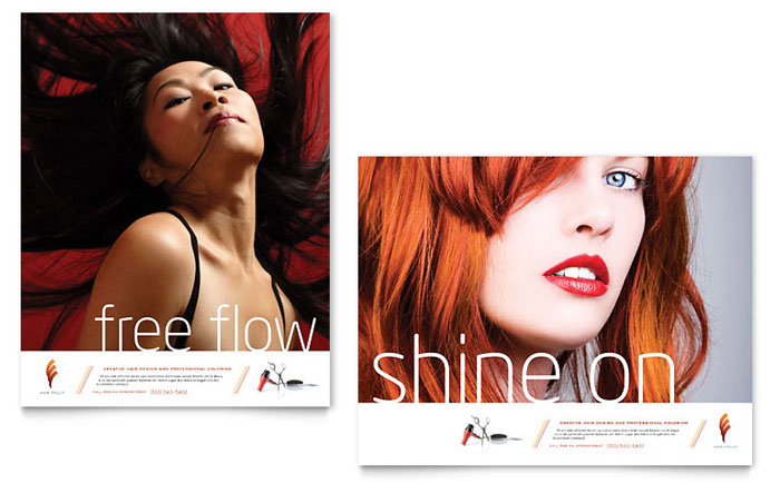 Hair Stylist & Salon Poster Template - Word & Publisher