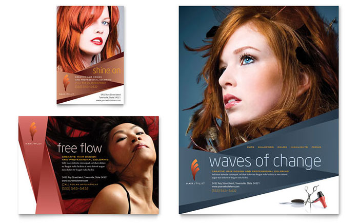 Hair Stylist & Salon Flyer & Ad Template - Word & Publisher