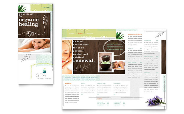 microsoft tri fold brochure template - day spa tri fold brochure template word publisher