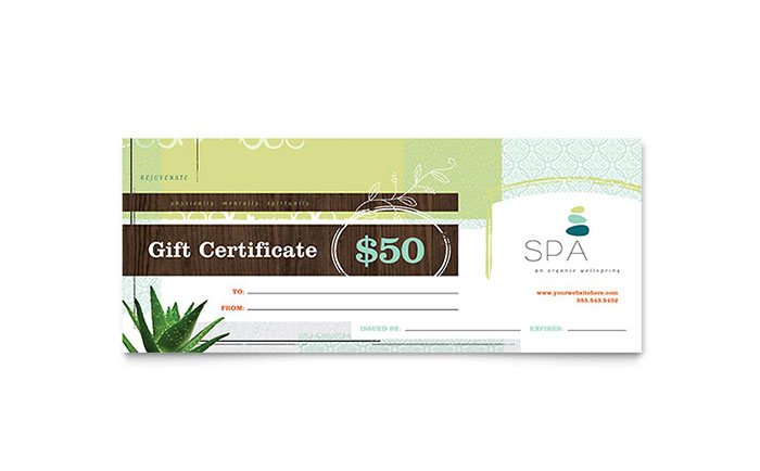Day Spa Gift Certificate Template - Word & Publisher
