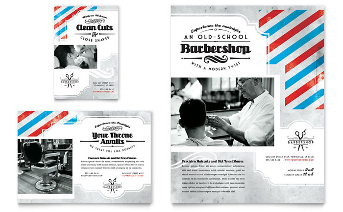 Barbershop Flyer & Ad Template - Word & Publisher