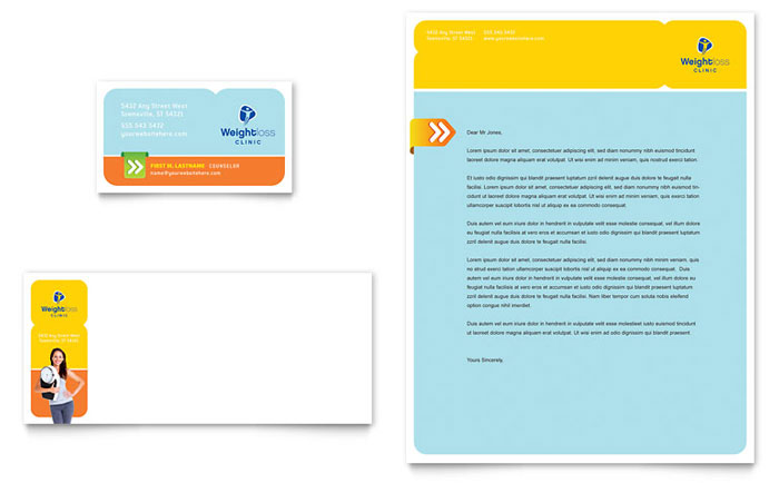 Weight Loss Clinic Business Card & Letterhead Template - Word & Publisher