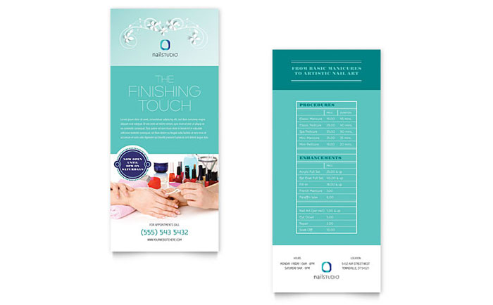 Nail Technician Rack Card Template - Word & Publisher