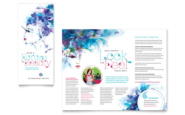 Health Beauty Microsoft Office Templates – Free Tri Fold Brochure Templates Word
