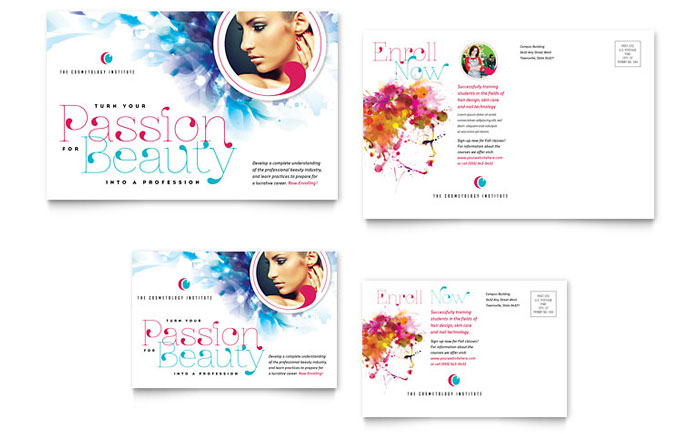 Cosmetology Postcard Template - Word & Publisher
