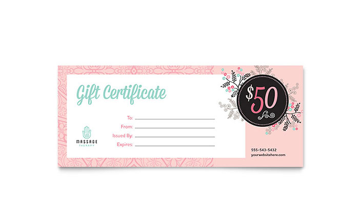 Massage Gift Certificate Template - Word & Publisher