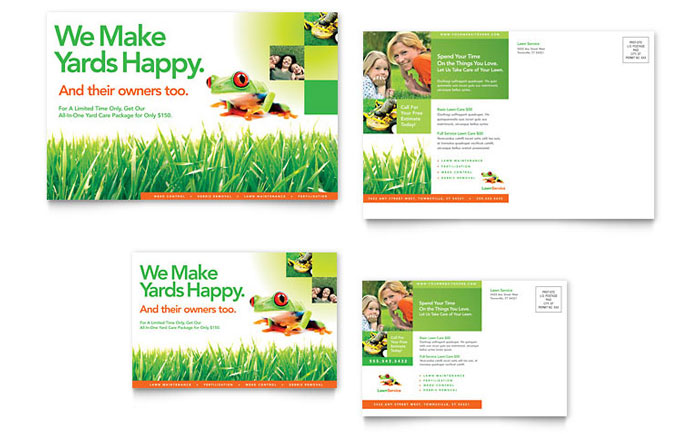 Lawn maintenance postcard template word publisher for Garden maintenance flyer template