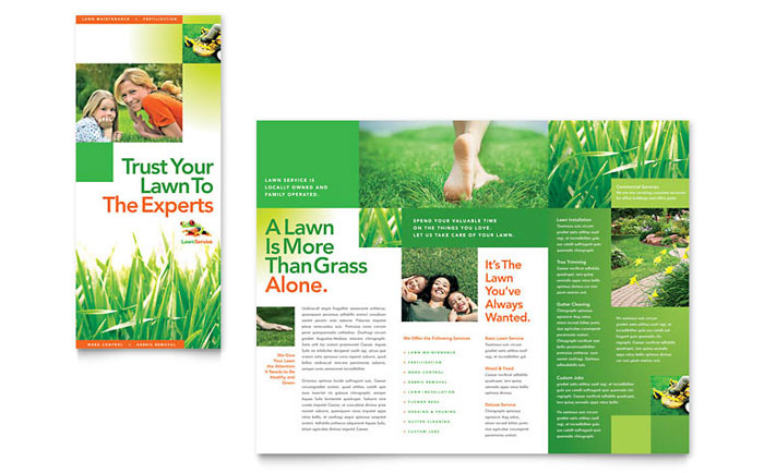 Lawn maintenance tri fold brochure template word publisher for Garden maintenance flyer template