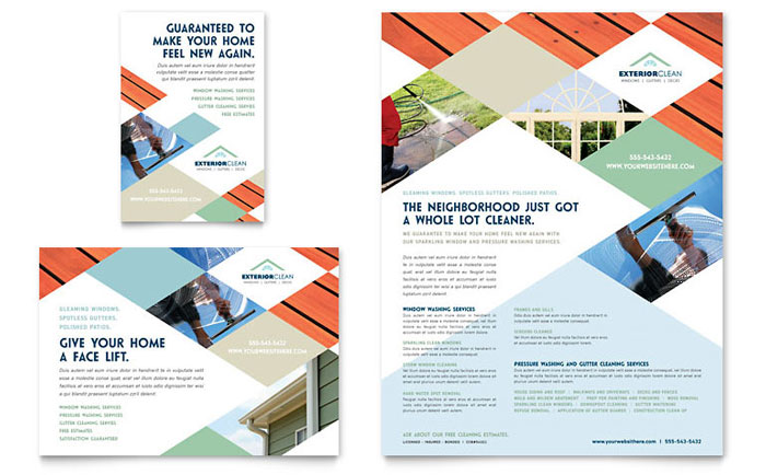 Window Cleaning & Pressure Washing Flyer & Ad - Word Template & Publisher Template