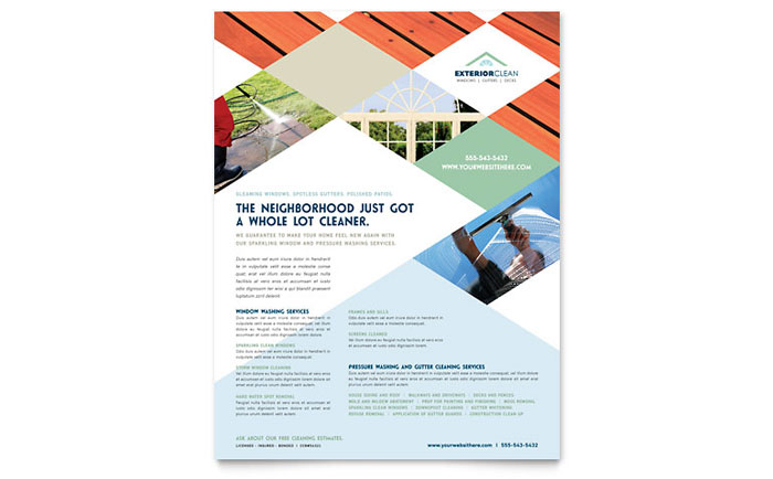Window Cleaning & Pressure Washing Flyer Template - Word & Publisher