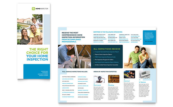 Home Inspection & Inspector Tri Fold Brochure Template - Word & Publisher