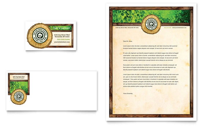 Tree Service Business Card & Letterhead Template - Word & Publisher