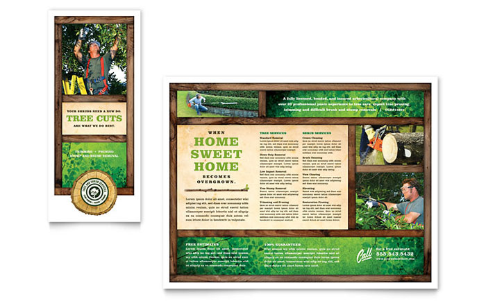 Tree service tri fold brochure template word publisher for Publisher brochure templates