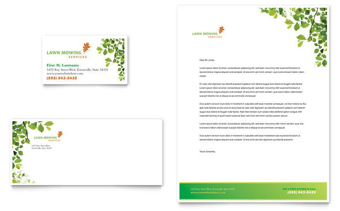 Lawn Mowing Service Business Card & Letterhead Template - Word & Publisher