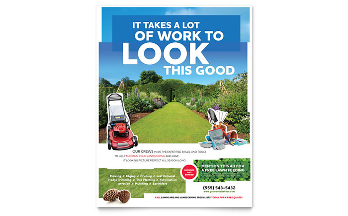 Landscaping flyer template word publisher for Garden maintenance flyer template