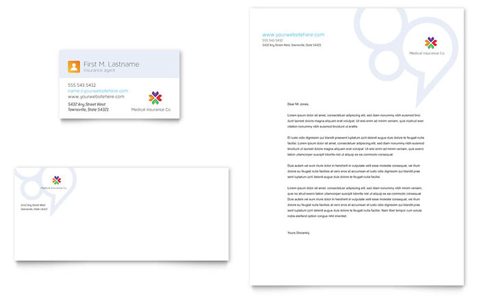 Medical Insurance Business Card & Letterhead Template - Word & Publisher