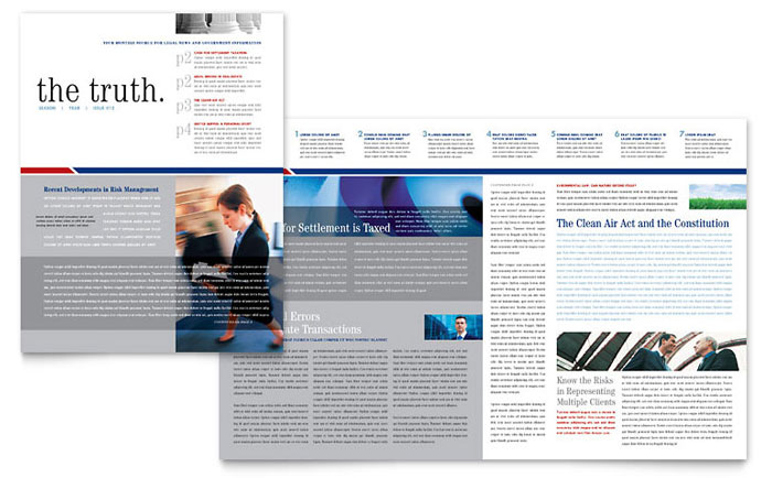 Legal & Government Services Newsletter Template - Word & Publisher