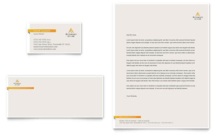 Legal Advocacy Business Card & Letterhead Template - Word & Publisher