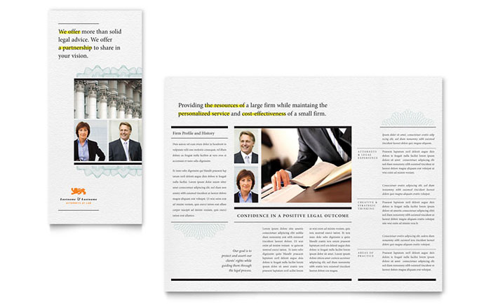 Attorney Tri Fold Brochure Template - Word & Publisher