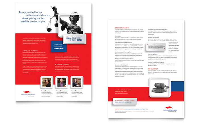 Justice Legal Services Datasheet Template - Word & Publisher
