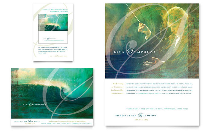 Symphony Orchestra Concert Event Flyer & Ad - Word Template & Publisher Template
