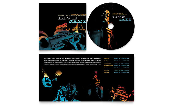 Jazz Music Event CD Booklet Template - Word & Publisher