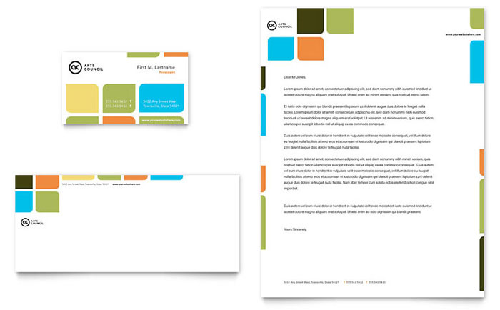 Arts Council & Education Business Card & Letterhead Template - Word & Publisher