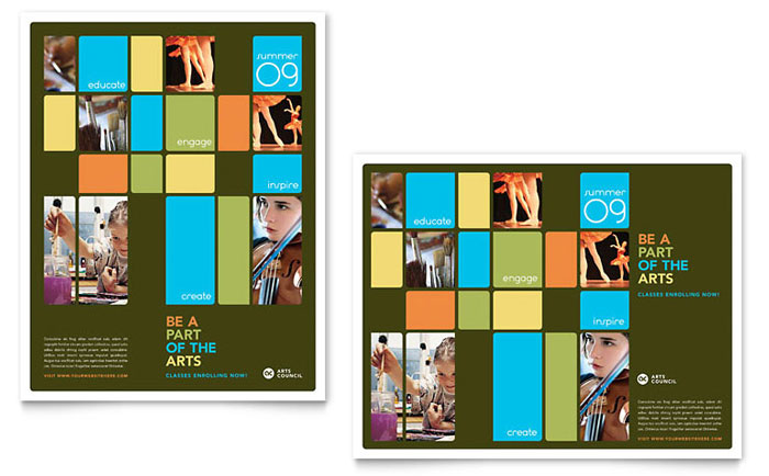 Arts Council & Education Poster Template - Word & Publisher