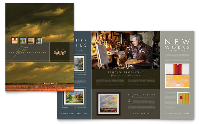 Art gallery artist brochure template word publisher for Microsoft works templates brochure