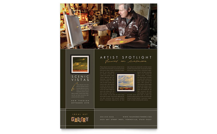 art gallery  u0026 artist flyer template