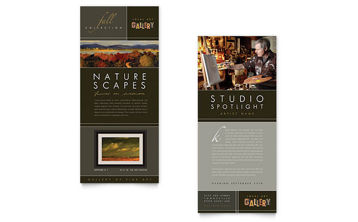 art gallery artist rack card template word publisher. Black Bedroom Furniture Sets. Home Design Ideas