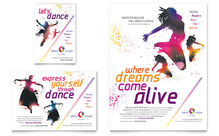 Dance studio flyer ad template word publisher for Ad designs