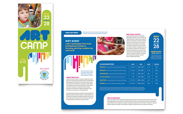 Kids art camp brochure template word publisher for Art brochure template
