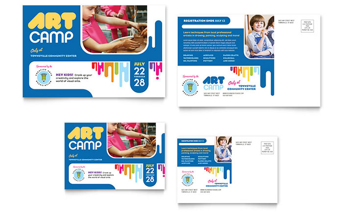 Kids Art Camp Postcard Template - Word & Publisher