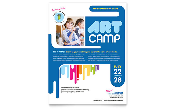 kids art camp flyer template word publisher. Black Bedroom Furniture Sets. Home Design Ideas