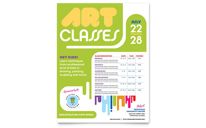 Kids art camp class flyer template word publisher for Camp flyer template microsoft word