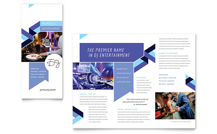 DJ Brochure Template - Word & Publisher