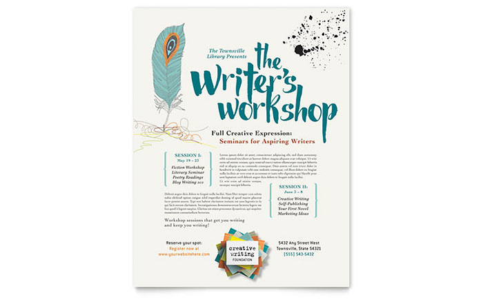 Writer's Workshop Flyer Template - Word & Publisher