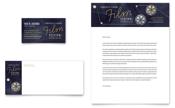 Film Festival Business Card & Letterhead Template - Word & Publisher