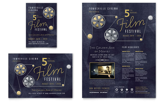 Film Festival Flyer & Ad Template - Word & Publisher