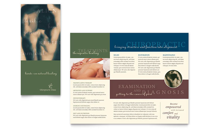 Chiropractor brochure template word publisher for Massage brochure template
