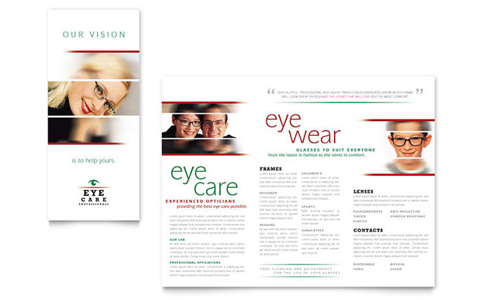Optometrist optician brochure template word publisher for Publisher brochure templates