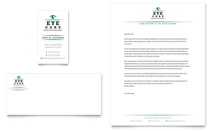 Optometrist & Optician Business Card & Letterhead Template - Word & Publisher