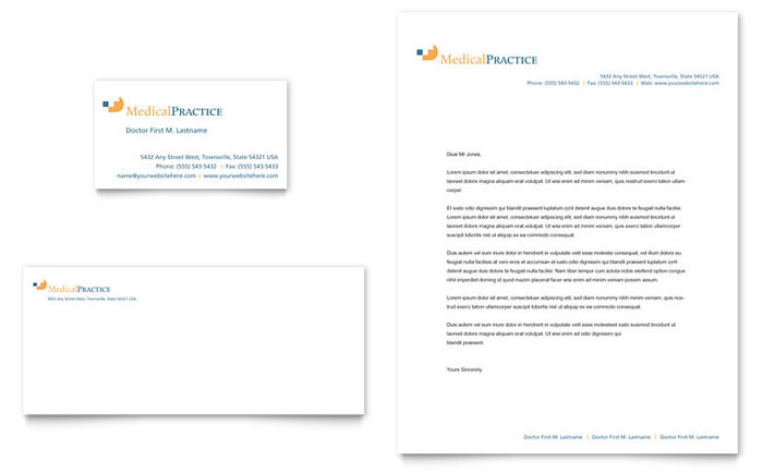Medical Practice Business Card & Letterhead Template - Word & Publisher